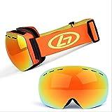 JINGJING Skibrille Erwachsene Zweischichtige Anti-Fog-Skibrille Für Männer Und Frauen,Yellow