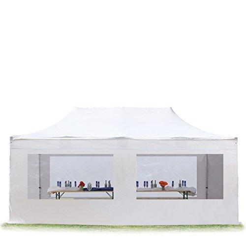 TOOLPORT Faltpavillon Faltzelt Premium 3x6m - mit Panoramafenster ALU Pavillon Partyzelt Dach 100% Wasserdicht Weiß
