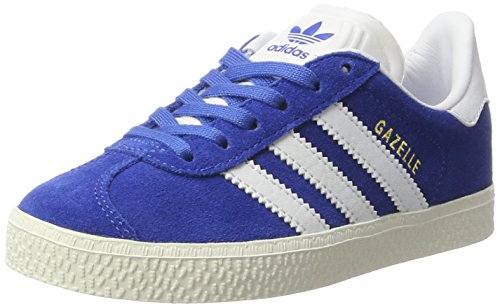 adidas Gazelle, Baskets Basses Mixte Enfant Bleu (Blue/Ftwr White/Gold Metallic)