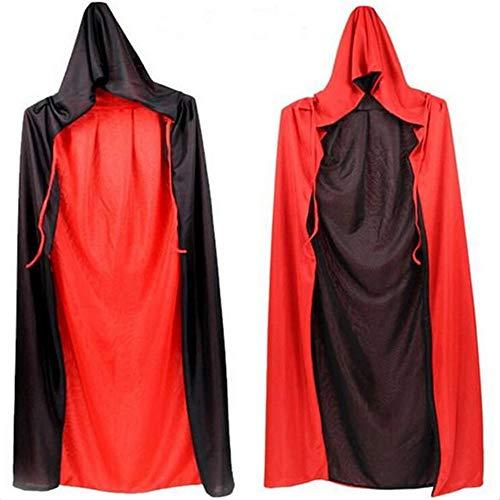 (SHARPTON Lange Doppelseitig Umhang Schwarz Rot Cape mit Kapuze Umhang Kinder Unisex Karneval Fasching Halloween Vampire Cosplay Kostüm 90cm)