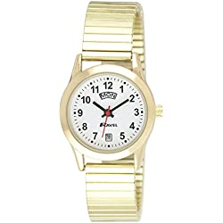 Ravel Ladies Stainless Steel Day/Date Golden Expandable Bracelet Strap Watch R0706.19.2EX
