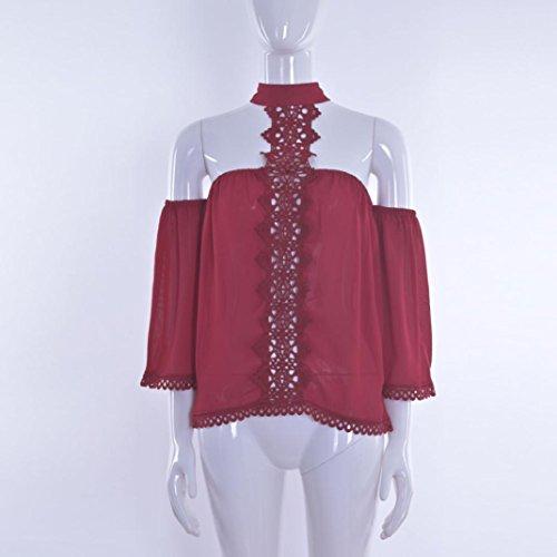 Vovotrade® Femmes à l'épave en Dentelle en épicé Chemise en Coton Loose Mousseline Tops T Shirt Rouge