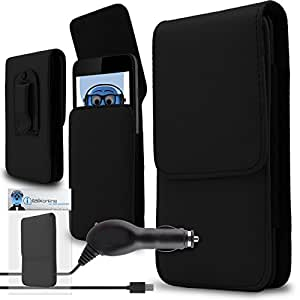 iTALKonline Sony Xperia Z3+ Z3 Plus E6553 Xperia Z4 Black PREMIUM PU Leather Vertical Executive Side Pouch Case Cover Holster with Belt Loop Clip and Magnetic Closure and 1000 mAh Coiled In Car Charger LED Indicator and Overload Protection