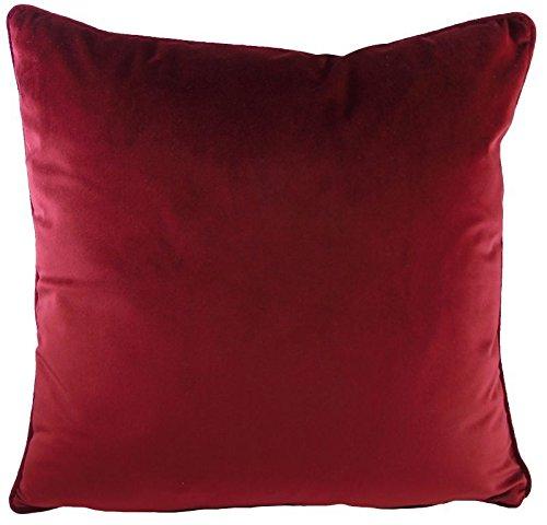 Luxus Evans Lichfield Kissen Royal Samt burgund rot gefüllt Paspel Superweicher Kissen 43,2cm–43cm (Burgund Samt Rot)