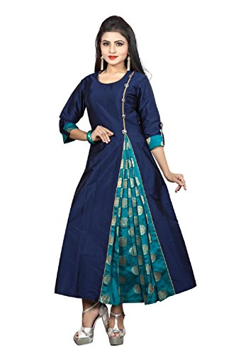Divine International Women's Neavy Blue Color Taffeta Silk Long Kurti (Div-Ne02.L_Large)