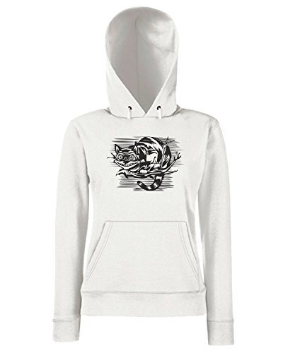 T-Shirtshock - Sweats a capuche Femme FUN0989 Cheshire Cat Madness hoodie detail Blanc