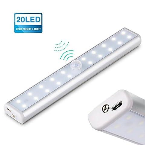 KINGSO Lampe Placard Veilleuse 20 LEDs Lampe Tube Détecteur De