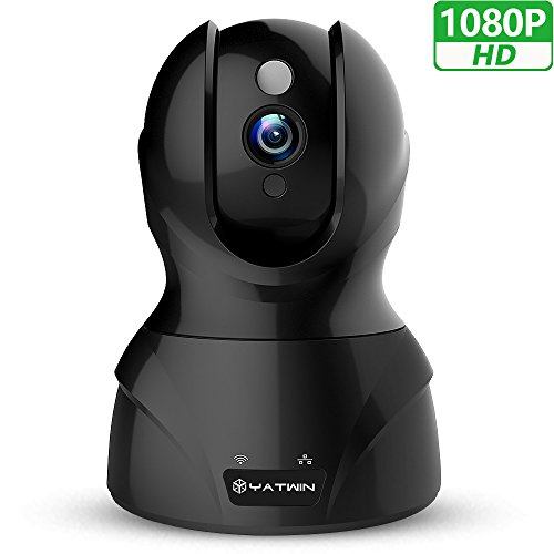WLAN IP Kamera 1080P HD YATWIN Überwachungskamera mit Neue deutsche Anleitung, Bewegungsmelder, 350°/100°Schwenkbar, Nachtsicht, 2 Wege Audio, WiFi Kamera für Smartphone/PC mit App - Schwarz (Pc-überwachung)