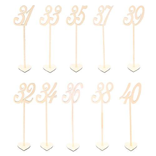 BESTONZON Tischnummernhalter aus Holz, 31 bis 40 Basis für Hochzeit, Geburtstag, Weihnachten, Party, 10 Stück