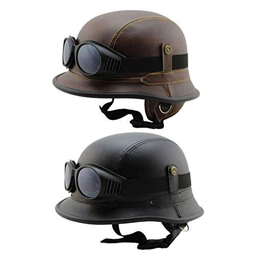 LESTARIE Jet Helm + Brille, Motorradhelm, Kunst Leder, Farbe Braun, Gr.L (57-60cm)