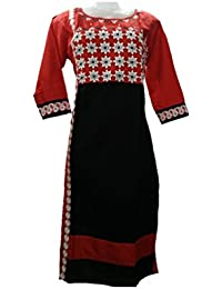 Red Black Cotton Ready Made Stitched Kurti With Embroidery Work Having 3/4 Sleeves In XL Size