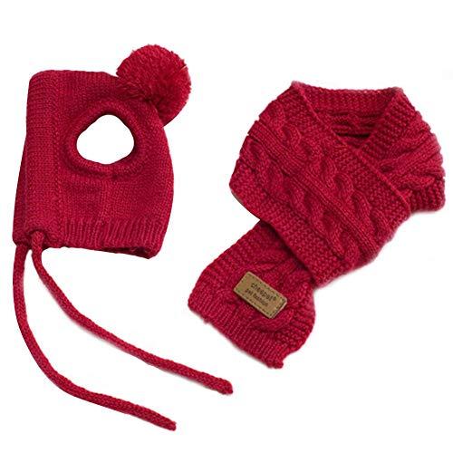 Augneveres Sombrero para Mascota, de Lana, otoño e Invierno, cálido, con Bufanda, para Perros y Otros Cachorros de tamaño S y M