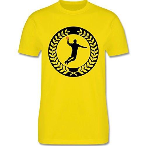 Handball - Handball Sichel Kranz - Herren Premium T-Shirt Lemon Gelb