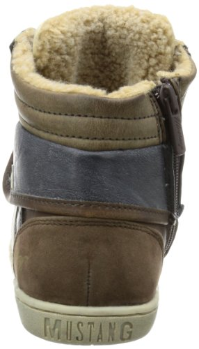 Mustang Schnür-booty, Hi-Top Sneakers garçon Marron - Braun (dunkelbraun 32)