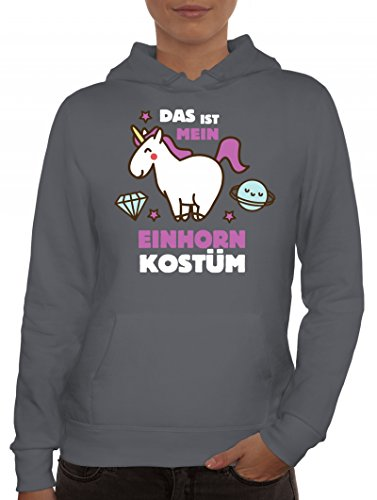 Karneval Damen Kapuzenpullover mit Das ist mein Einhorn Kostüm 2 Motiv, Größe: L,Grau (Coole Pferd Kostüm Ideen)
