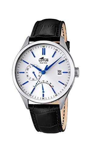 Lotus Men's Quartz Watch with White Dial Analogue Display and Black Leather Strap 18214/1