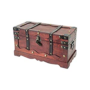 HMF 6400-140 Schatztruhe, mit Schloss, Schatzkiste, Holzkiste Frankreich, 40 x 19 x 22 cm, Aufbewahrungsbox
