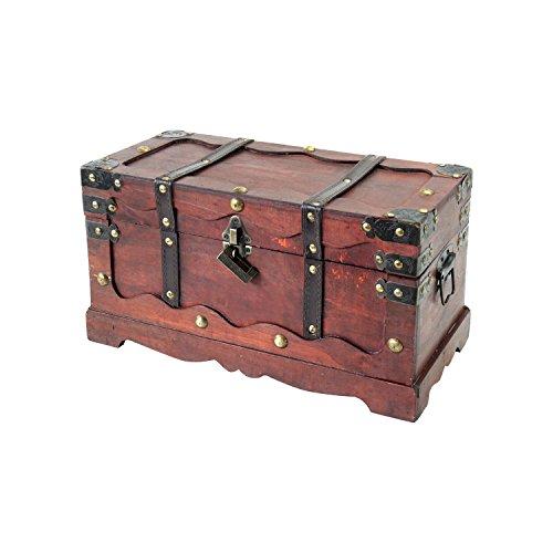 ruhe, mit Schloss, Schatzkiste, Holzkiste Frankreich, 40 x 19 x 22 cm, Aufbewahrungsbox ()