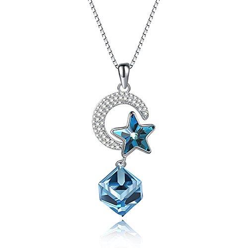 WANZIJING Damen Halskette, 925 Sterling Silber Kristall Anhänger Halskette Mond und Stern Kristall von Swarovski Element für Damen Mädchen