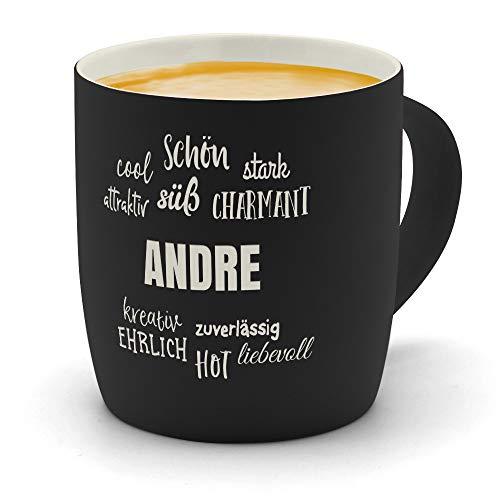 printplanet - Kaffeebecher mit Namen Andre graviert - SoftTouch Tasse mit Gravur Design Positive Eigenschaften - Matt-gummierte Oberfläche - Farbe Schwarz -