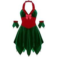 4026ea49ed222 ranrann Robe de Noël Femme Lutin Costume Mère Noël Sexy Déguisement Elfe  Velours Rouge Vert Manchettes