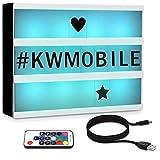 kwmobile Boite Lumineuse Message - Light Box LED Cinéma A4 avec 126x Lettre en Noir Télécommande Fonction Changement de Couleur et Micro USB