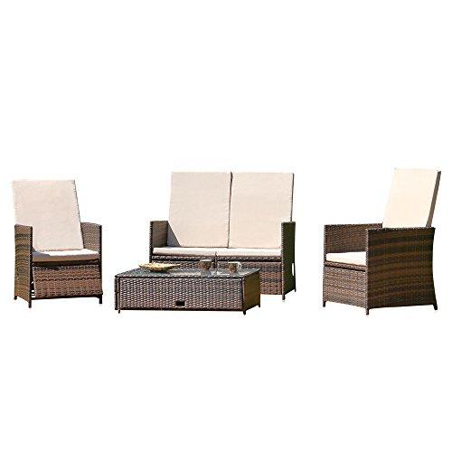 Melko® Gartenset, Poly Rattan, Lounge Sitz-Garnitur mit Glastisch, Braun, inklusive Kissen, mehrteilig