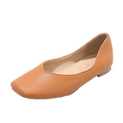 (AgooLar Damen PU Low-Heels Schließen Zehe Ziehen auf Pumps Schuhe, Hellbraun, 44)