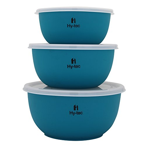 Hytec Microwave Safe Stainless Steel Euro Lid Bowl (Set of 3 Royal Green Bowl)