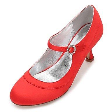 Rtry Chaussures De Mariage Pour Femmes Satin Comfort Spring Summer Wedding & Amp; Robe De Soirée Bowknot Strass Heelivory Plat Champagne Bleu Rubis Us9 / Eu40 / Uk7 / Cn41