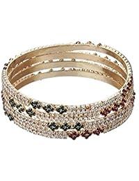 Zeneme Designer American Diamond Gold Plated Bangles Jewellery For Women / Girls …