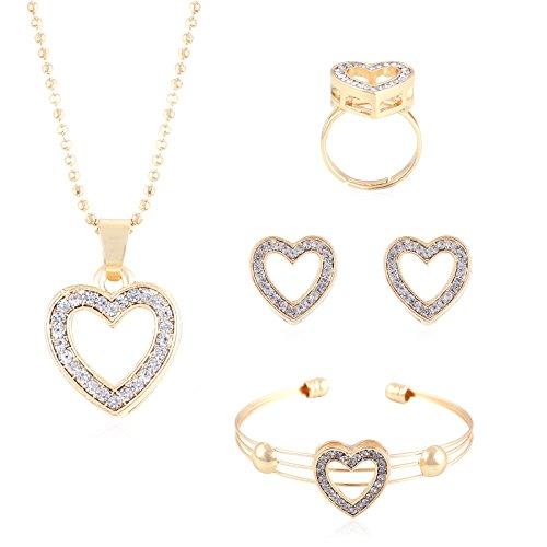 [LIEFERUNG IN 8-12 Werktagen] fasherati Rose Vergoldet Herzform Set Anhänger mit Ring und Armband