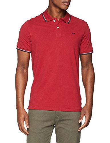 JACK & JONES Herren Poloshirt Jjecontrast Stripe Polo SS Noos, Rot (Brick Red Detail: Slim Fit), Small