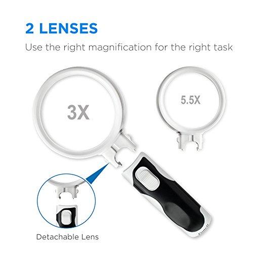 Fancii Handlupe Lupe mit LED Licht für Senioren, 3x 5x Fach (8 und 16 Dioptrien) – Beleuchtete Leselupe Starke Vergrößerung zum Lesen - 2
