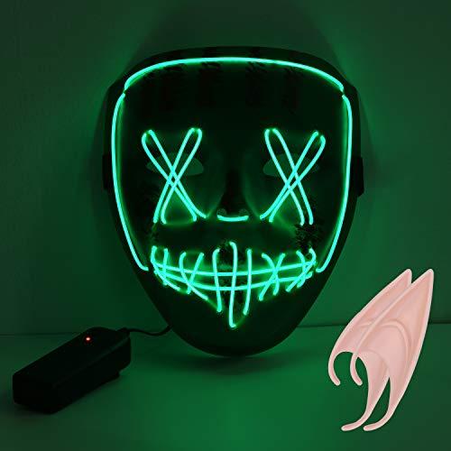 URAQT Halloween LED Maske, Erschreckend LED leuchten Maske Für Festival Party Cosplay Karneval, Halloween Accessoires Grimasse Maske, Batterie Angetrieben(Nicht Enthalten)-Grün+EIN Paar Elfenohren