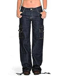 Glamour Outfitters Pantalon Cargo/Combat Foncé à jambes larges en Denim - Indigo