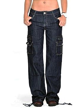 Pantalones Denim Cargo Militares para Mujer Jeans de Combate Anchos y Sueltos – Azul Oscuro