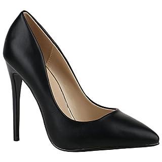 Stiefelparadies Spitze Damen Schuhe Pumps High Heels Lack Stilettos 156088 Schwarz Amares 38 Flandell