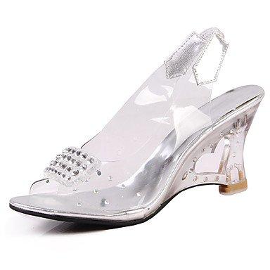 LvYuan Sandali-Matrimonio Formale Casual-Club Shoes-Tacco in cristallo-PU (Poliuretano)-Argento Dorato Gold