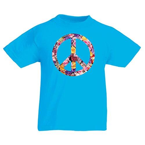 lepni.me Kinder Jungen/Mädchen T-Shirt Friedenssymbol, 60er, 70er Jahre, Hippie, Friedenszeichen Blume, Sommer, Retro, Swag (5-6 Years Hellblau Mehrfarben) (70er Retro T-shirts Jahre)