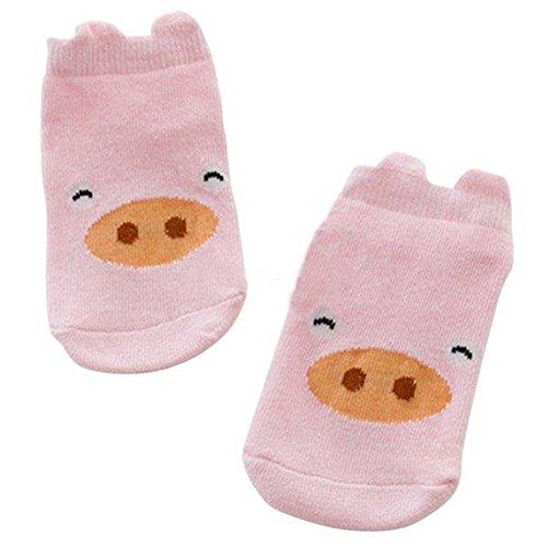 Tangbasi Baby Mädchen (0-24 Monate) Socken Rosa, Schwein Medium (Schwein Ferse)
