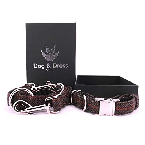 Dog & Dress by Nacy Kena Hundehalsband Und Hundeleine Set, Hundehalsband Verstellbar, Karabiner, Hundeleine 2M, Für Große Hunde + Kleine Hunde, Starkes Tweed + Nylon, Geschenk Hund (Hundehalsband Mit Leine)