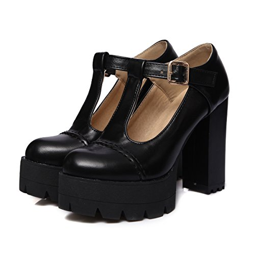 YE Damen T Strap Pumps Geschlossene High Heels Plateau mit Blockabsatz und Riemchen Moderne Schuhe Schwarz