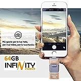64GB Espansione memoria esterna per cellulari smartphone iPhone IOS e Android (Samsung, Huawei e altri) e PC OTG Flash Drive USB 3.0 cellulare