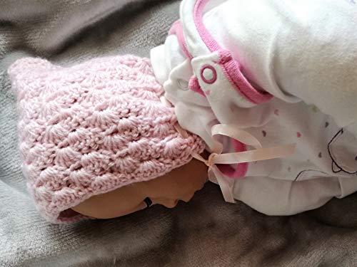 Babymütze, Pixie, Zwergmütze aus Wolle (Merino) für Neugeborene, mitwachsend,...