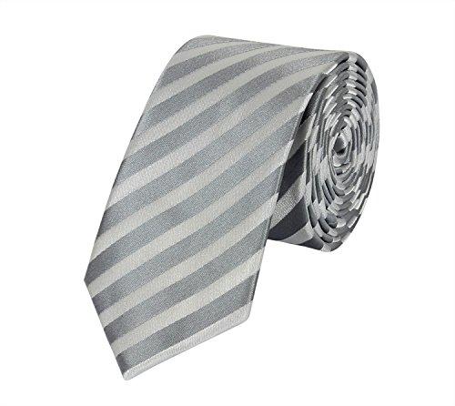 Seidenweiche Fabio Farini Krawatte 6 cm in verschiedenen Farben, Grau gestreift (Grau Blau Seidenkrawatten)