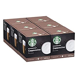 STARBUCKS Cappuccino By Nescafe Dolce Gusto Coffee Pods, 12 Capsules (Pack of 6 – Total 72 Capsules, 36 Servings)