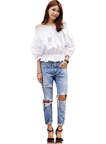 Minetom Jeans Da Donna, Low Rise Jeans Donna, Jeans Distrutti, Pantaloni ( IT 46 ( Vita74-78 cm ) )