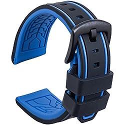 Ullchro Bracelet Montre Remplacer Silicone Bracelet Montre Bicolore - 20, 22, 24, 26mm Caoutchouc Montre Bracelet avec Acier Inoxydable Boucle Noir (22mm, Noir et Bleu)