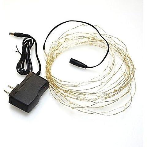 Ailimi- [2pcs / lot] 6w 10m 100xsmd3528 caldo filo d'argento bianco ha condotto la luce della stringa per la decorazione (DC12V)